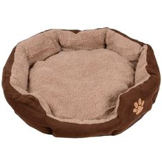 Round light and dark brown pet bed with embroidered paw detail.