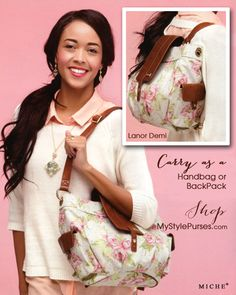 Miche LaNor Demi Backpack.  Feminine floral fabric, versatile design.  And, she's on sale starting February 1, 2015 http://www.miche.com/rep_share/Z2VkOVlNbTVNQ0k9/lanor-demi.html