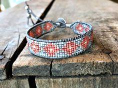 Faded Peach and Gray Diamond Bead Loom Bracelet