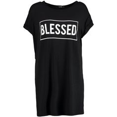 Boohoo Roksanda Blessed Slogan T-Shirt Dress | Boohoo ($20) ❤ liked on Polyvore featuring dresses, rayon dress, tee shirt dress, viscose dress, boohoo dresses and tee dress
