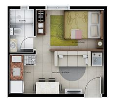 Small Apartment Layout, Studio Apartment Layout, Studio Apartment Decorating, Small Apartments, Studio Apartment Floor Plans, Apartment Plans, Small House Plans, House Floor Plans, Appartement Design