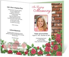 Funeral Bulletins Templates Floral Theme : Austere Design Layout with Elegant Preprinted Title Letter Single Fold Program Template with Red Roses