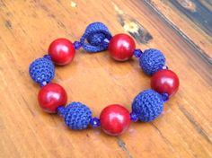 Bracelet - Crocheted Navy Beads Beaded Necklace, Beaded Bracelets, Navy, Beads, Jewelry, Beaded Collar, Hale Navy, Beading, Jewlery
