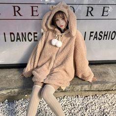 Kawaii Bunny Ears Hoodie Coat - Plush Hooded with Rabbit Ears Kawaii Fashion, Cute Fashion, Asian Fashion, Fashion Styles, Kawaii Bunny, Bunny Outfit, Harajuku, Kawaii Clothes, Ulzzang Fashion
