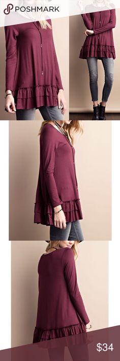 """Long sleeve round neck riffle hem tunic top Long sleeve Round neck soft heavy rayon ruffle tunic top  Can be worn as a top itself or under a top for layered look   Color: deep plum  Fabric: RAYON  Content: 95% RAYON, 5% SPANDEX  Made In: United States  Super soft fabric with stretch  Relaxed fit  MEASUREMENTS:  Small: Armpit to Armpit: 19"""" Length: 31""""   Medium: Armpit to Armpit: 20"""" Length: 31.5""""  Large: Armpit to Armpit: 21"""" Length: 32"""" Pink Peplum Boutique Tops Tunics"""