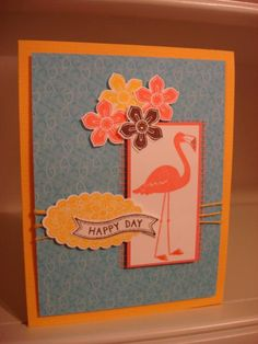 Card by RB's Rock-n-Stamp  (080314)  [Stampin' Up! (dies) Bitty Banner Framelits; (punches) Petite Petals, Scalop Oval; (stamps) Flamingo Lingo]