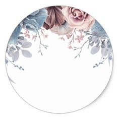 Dusty Blue and Mauve Floral Wedding Classic Round Sticker | Zazzle.com