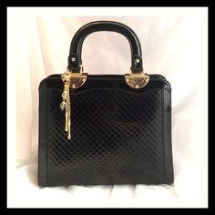 Black Patent Quilted Handbag