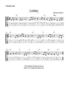 "✓""Lullaby"" by Brahms Ukulele Sheet Music - Free Printable"