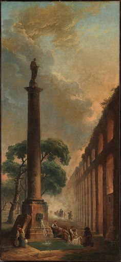 Hubert Robert - The Fountain. Oil on canvas. Hubert Robert - French The Metropolitan Museum of Art. European Paintings, Old Paintings, Landscape Paintings, Landscapes, Metropolitan Museum, The Fountain Art, Art Et Architecture, Art Public, Marquise