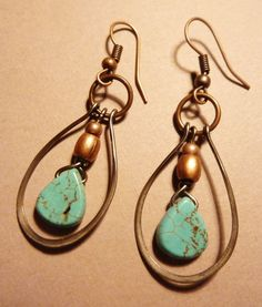 Turquoise and Copper Hoop Earrings by Lammergeier on Etsy, $22.00