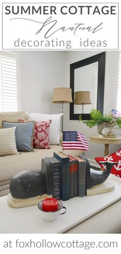 A classic cottage bungalow decorated for Summertime in red, white and nautical navy blue. White walls, dark wood floors and neutral furnishing allow for simple décor changes to reflect the changing seasons. Nautical Home Decorating, Bungalow Decor, Dark Wood Floors, Nautical Fashion, Cottage Homes, Coastal Style, White Walls, Summertime, Neutral