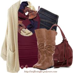 Cardigan, Ombré knit scarf & Slouchy boots