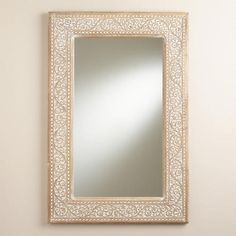 """One of my favorite discoveries at WorldMarket.com: Carved Lydia Mirror   Handcrafted of mango wood with whitewash finish World Market exclusive Made in India 36""""W x 1.35""""D x 24""""H, 19.8 lbs. $140"""