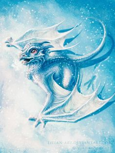 Look at how cute this baby dragon is! Looks like Tepin in dragon form Snow Dragon, Ice Dragon, Baby Dragon, Fantasy Kunst, Fantasy Art, Fantasy Wesen, Dragon Dreaming, Cool Dragons, Dragon's Lair