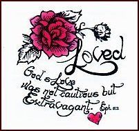 """Loved Temporaray Tattoo by Tattoo Fun. $0.95. Loved Temporary Tattoo. 2"""" x 2"""". Ephesians 5:2. This is a 2"""" x 2"""" temporary tattoo with a pink rose with script from Ephesians 5:2."""