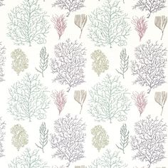 Coral Reef Fabric A charming curtain fabric featuring a blend of printed and embroidered sea coral in shades of teal and mauve on white.
