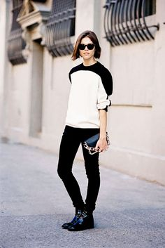 Style 101: How to Wear Your Jeans With Boots via @WhoWhatWear For: Patent Leather Chelsea Boots Take a cue from Into The Gloss's Emily Weiss and scrunch up the jeans over the top of the shoe to add a tomboyish insouciance to the otherwise sleek silhouette of the shoe. It's all about alternating proportions here, folks.