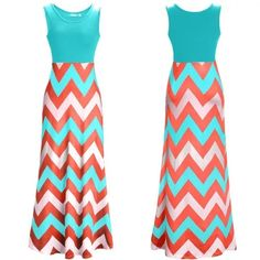 """Zig Zag Pattern Long Maxi Dress Zig Zag Maxi Dress - Orange $19.99   Take the plunge in this colorful zig- zag print designed maxi. Simple and versatile, this dress will look perfect with a pair of flats or sandals. Beautiful new summer maxis in time for the warm weather.  One piece dress, available in a size 14.  Eye catching zig zag patterns available in two colors.   You can choose either the """"blue top"""" or the """"orange top"""".   Long dress and breathable polyester material.  90% Polyester…"""