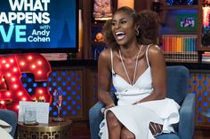 "New Trending Celebrity Looks: Issa Rae in Muehleder on ""Watch What Happens Live with Andy Cohen"". LOVE YOUR HAIR MISS LADY.       Not so much on your dress, though. Oof. That really is bad. We just got done praising her for being the kind of celeb-gal who can make edgy and weird fashion her own, but we're afraid this frock is beyond even her capabilities. The whole thing is..."