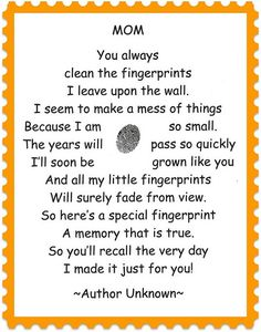 finger print poem - to go with our mothers day gifts