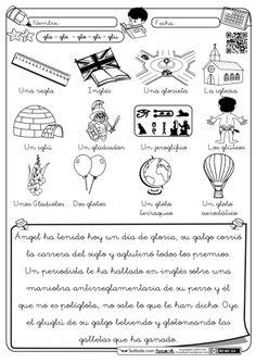 Lectura trabadas Gl Dual Language, Grade 1, Phonics, Worksheets, Spanish, Homeschool, Teacher, How To Plan, Education