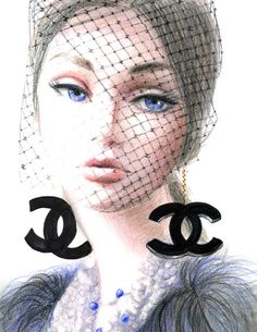 Young lady in Chanel  Print of Original Fashion by sookimstudio,