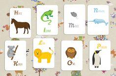 Английский алфавит в картинках распечатать, карточки с английскими буквами и животными скачать