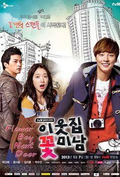 My Flower Boy Neighbor-Korean Drama. The beginning was kind of boring and Park Shin-Hye is extremely awkward to watch at first, however after this drama seems to have potential and Yoon Si-Yoon who plays Enrique Keum cutest moves ever! Flower Boys, Flower Boy Next Door, Park Shin Hye, Korean Drama Movies, Korean Actors, Korean Dramas, Kdrama, Oh My Ghostess, Yoon Shi Yoon