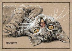 ACEO Original Painting Lazy Kitty cat animals pets feline stripes tabby kitten #Impressionism Artist Trading Cards, Atc, Impressionism, Original Paintings, Kitten, Stripes, Bird, The Originals, Artwork