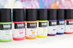 Made with polymer coated dyes to give instant fluorescence, our Florescent Range comes in a range of six vivid colours that still dry to the same flat and matte finish as the rest of our Acrylic Gouache range. All The Colors, Vivid Colors, Colours, Fabric Painting, Painting On Wood, Liquitex, Brush Strokes, Gouache, Dyes
