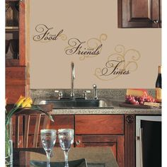 New GOOD FOOD FRIENDS TIMES WALL DECALS Black Gold Quotes Stickers Kitchen Decor #RoomMates #Traditional