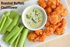 Roasted Buffalo Cauliflower and Homemade Dairy-Free Ranch