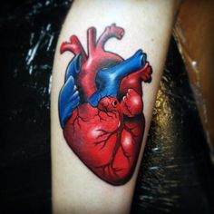 Heart Tattoo On Man Neo Traditional Style Forearm Piece