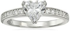 PlatinumPlated Sterling Silver Swarovski Zirconia Heart Ring Size 5 ** Want to know more, click on the image.Note:It is affiliate link to Amazon.