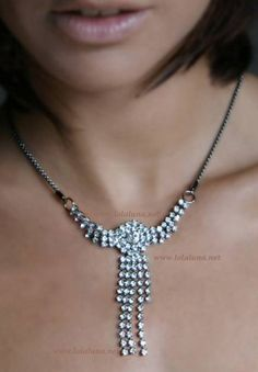 Lola Luna Venus Colliera Luxuriously refined, gorgeous rhinestone necklace in crystals of Swarovsky matched to the opened G-string.