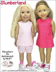 Slumberland top and bloomer pajamas pattern for Journey Girls, Via-E Dollfriend - by Doll Tag Clothing Costume Patterns, Dress Patterns, My Friend Cayla, Pajama Pattern, Journey Girls, Cute Pajamas, Clothing Tags, Fantasy Dress, Folk Costume
