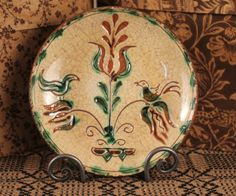 """** Circa Home Living ** 6¾"""" Round Sgraffito Plate with Two Birds"""