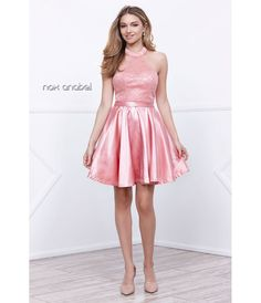 12/12/16   Brand/Designer: Narianna Season: 2017 Material: Satin Occasion: Party Dress Prom Dress Dress Length: Short Shoulder: Halter Neckline: Sweetheart Skirt: Flared-Skirt Embellishments: Sophisticated Closure/Back: Back Zipper