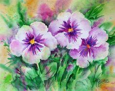 """Pansy Trio"" - Original Fine Art for Sale - © Martha Kisling.. My new pansies!! :)"