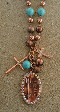 COWGIRL Bling Southwest BRAVE Arrow Cross Copper tone Western Gypsy NECKLACE  #Unbranded #necklace