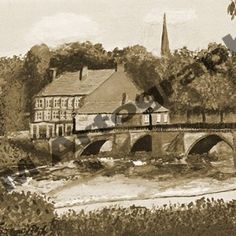 Old Dee Bridge, Autumn, Sepia by Jill Pears, using a different take on my original painting