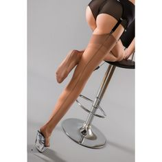 4a39abd3d01 Gio FF Bronze Black Contrast Seam Cuban Heel Stockings Nylons Hosiery  Perfects 3