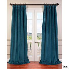 Buy Signature Everglade Teal Grommet Blackout Velvet Curtains and drapes at best price. Find Signature Blackout Velvet Curtains for home decor. Cool Curtains, Rod Pocket Curtains, Window Curtains, Silk Curtains, Green Curtains, Blackout Windows, Blackout Curtains, Traditional Window Treatments, Traditional Curtains