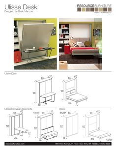 murphy bed plans with table. Ulisse Desk, A Queen-size Wall Bed (murphy Bed), With Desk On The Front Offers Multifunctionality Of Work Space During Day And At Night! Murphy Plans Table H