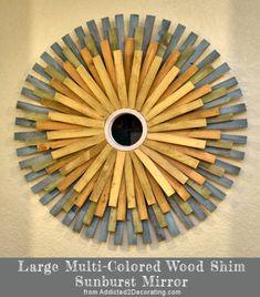 DIY: Large Multi-Colored Wood Shim Sunburst Mirror