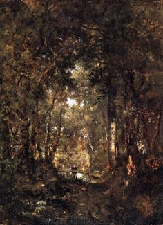Théodore Rousseau - In the Forest of Fontainebleau.  Oil on wood.  Kunsthalle, Hamburg