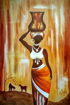 Tribal Art Canvas Print / Canvas Art by Kalyani Badwaik African American Artwork, African Artwork, African Art Paintings, Canvas Art Paintings, Canvas Artwork, Canvas Prints, African Drawings, Afrique Art, Black Art Painting