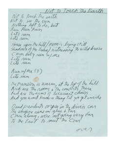 Not To Touch The Earth by Jim Morrison. Handwritten lyrics.