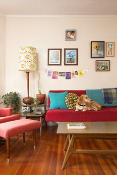 Paint colors that match this Apartment Therapy photo: SW 6594 Poinsettia, SW 6636 Husky Orange, SW 9114 Fallen Leaves, SW 2839 Roycroft Copper Red, SW 6057 Malted Milk